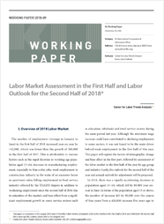 (Working Paper 2018-09) Labor Market Assessment in the First Half and Labor Outlook for the Second Half of 2018