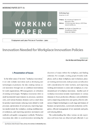 (Working Paper 2017-16/Employment and Labor Policies in Transition: Labor) Innovation Needed for Workplace Innovation Policies