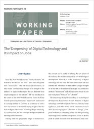 (Working Paper 2017-13/Employment and Labor Policies in Transition: Employment) The 'Deepening' of Digital Technology and Its Impact on Jobs