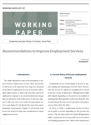 (Working Paper 2017-09/Employment and Labor Policies in Transition: Social Policy) Recommendations to Improve Employment Services