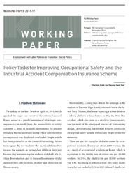 (Working Paper 2017-17/Employment and Labor Policies in Transition: Social Policy) Policy Tasks for Improving Occupational Safety and the Industrial Accident Compensation Insurance Scheme